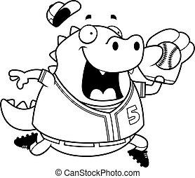 Cartoon Lizard Baseball