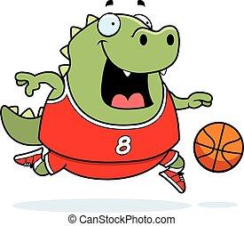 Cartoon Lizard Basketball