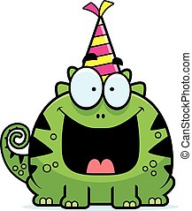 Cartoon Lizard Birthday Party - A cartoon illustration of a ...