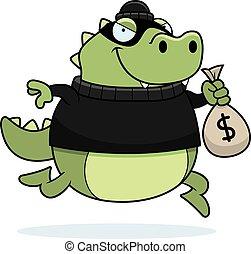Cartoon Lizard Burglar