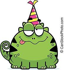 Cartoon Lizard Drunk Party