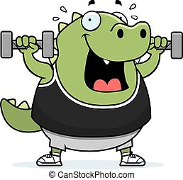 Cartoon Lizard Dumbbells