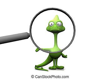 Cartoon lizard in a magnifying glass