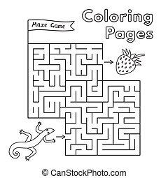 Cartoon Lizard Maze Game