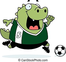 Cartoon Lizard Soccer