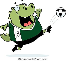 Cartoon Lizard Soccer Kick