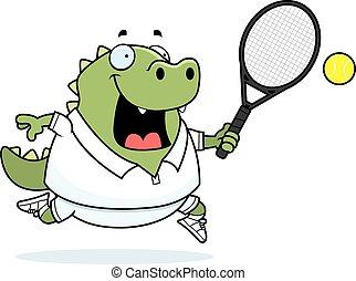 A cartoon illustration of a lizard playing tennis.