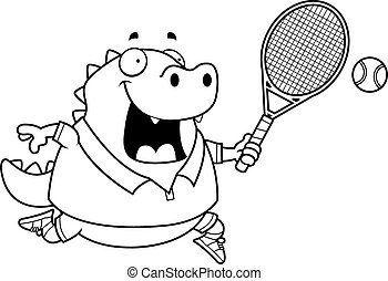 Cartoon Lizard Tennis