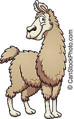 Cartoon llama - Smiling cartoon llama. Vector clip art...