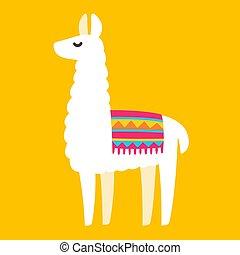 Cartoon Llama drawing - Cute cartoon Llama drawing on bright...
