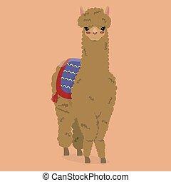 Cartoon llama on an orange background. Vector illustration...