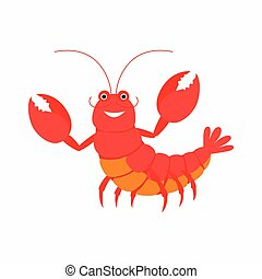 Cartoon lobster. Vector illustration isolated on white background.