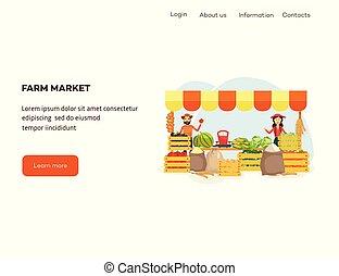 Cartoon local farmer market concept vector