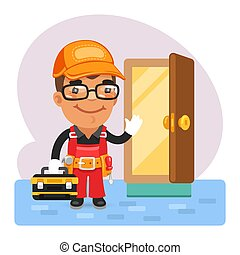 Cartoon Locksmith Opened the Door - Cartoon locksmith opened...