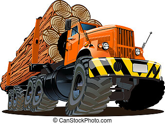 Cartoon logging truck isolated on white background. ...