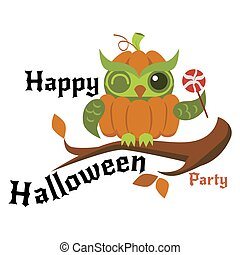 Cartoon logo Halloween orange pumpkin owl flat poster vector illustration. Cute night-bird sitting on branch of tree and holding candy. All Hallows Eve concept. Isolated on white