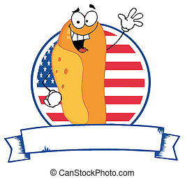 Cartoon Logo Mascot-Hot Dog - Waving Hot Dog Over An...