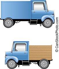 Cartoon lorries isolated on white
