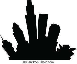 Cartoon skyline silhouette of the city of Los Angeles, California, USA.