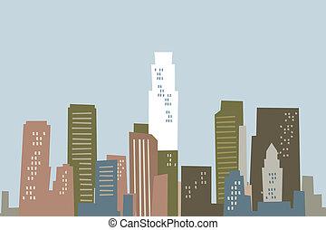Cartoon Los Angeles Skyline - Cartoon skyline of Los...