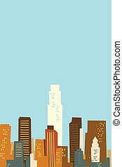 Cartoon skyline of Los Angeles, California, USA.