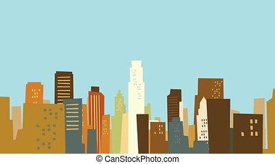 Traveling through a cartoon Los Angeles Skyline