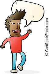 cartoon loudmouth man with speech bubble