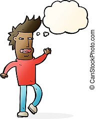 cartoon loudmouth man with thought bubble