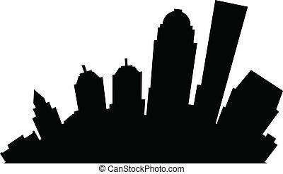 Cartoon Louisville - Cartoon skyline silhouette of the city ...