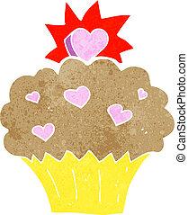 cartoon love heart cupcake