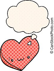 cartoon love heart with face and thought bubble in comic book style