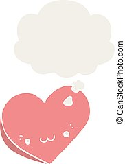 cartoon love heart with face and thought bubble in retro style