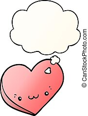 cartoon love heart with face and thought bubble in smooth gradient style