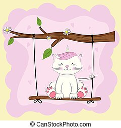 Cartoon lovely kitty unicorn sits on a swing.