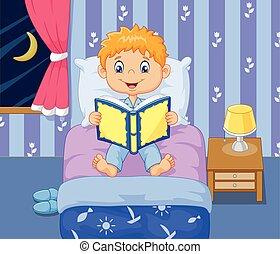 Cartoon lttle boy reading bed time