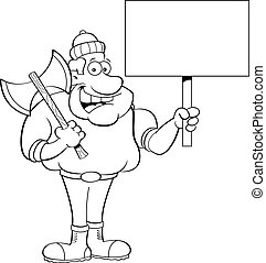 Cartoon lumberjack holding a sign.