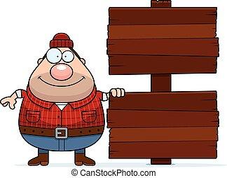 Cartoon Lumberjack Sign - A cartoon illustration of a...
