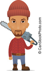 Cartoon lumberjack with a chain saw