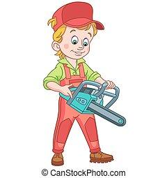 cartoon lumberjack with chainsaw