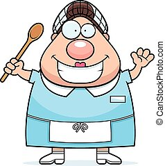 Cartoon Lunch Lady Waving - A cartoon illustration of a...
