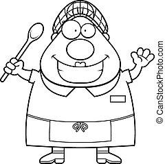 Cartoon Lunch Lady Waving