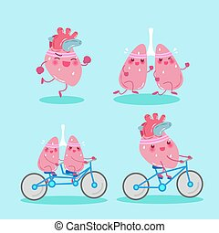 cartoon lung and heart