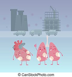 cartoon lung with heart