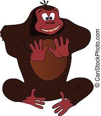cartoon., lustiges, gorilla