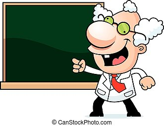 Cartoon Mad Scientist Chalkboard