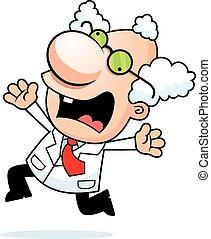 Cartoon Mad Scientist Panicking