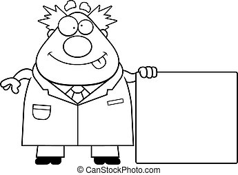A cartoon illustration of a mad scientist with a sign.