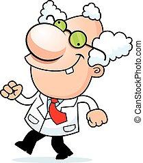 Cartoon Mad Scientist Walking