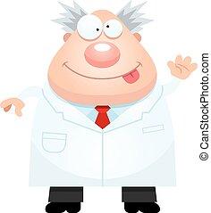 Cartoon Mad Scientist Waving