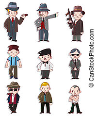 cartoon mafia icon set